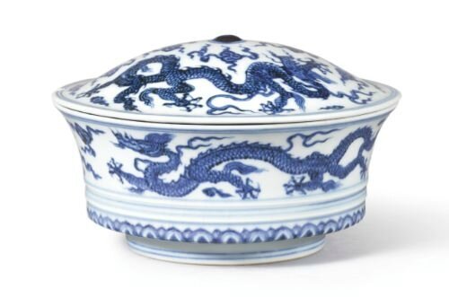 Blue and white 'dragon' bowl and cover, marks and period of Xuande, Collection of Au Bak Ling, formerly collection of Mr and Mrs R