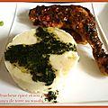 Poulet fraicheur épicé et son écrasée de pommes de terre au wasabi