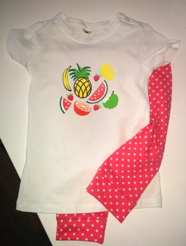ensemble Mimie ts fruit et leggings à pois - copie