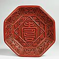 Octagonal plate with the eight treasures and a longevity character, ming dynasty, reign of the jiajing emperor (1522-1566)