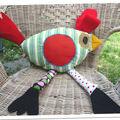 Poule poulette cocOtte coussin Psyché papattes à pois