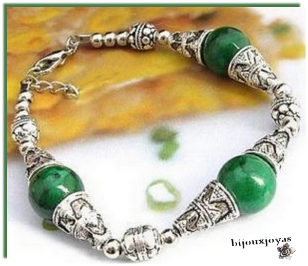 Bracelet Ethnique Capa 3 Perles Jade Vert Argent du Tibet