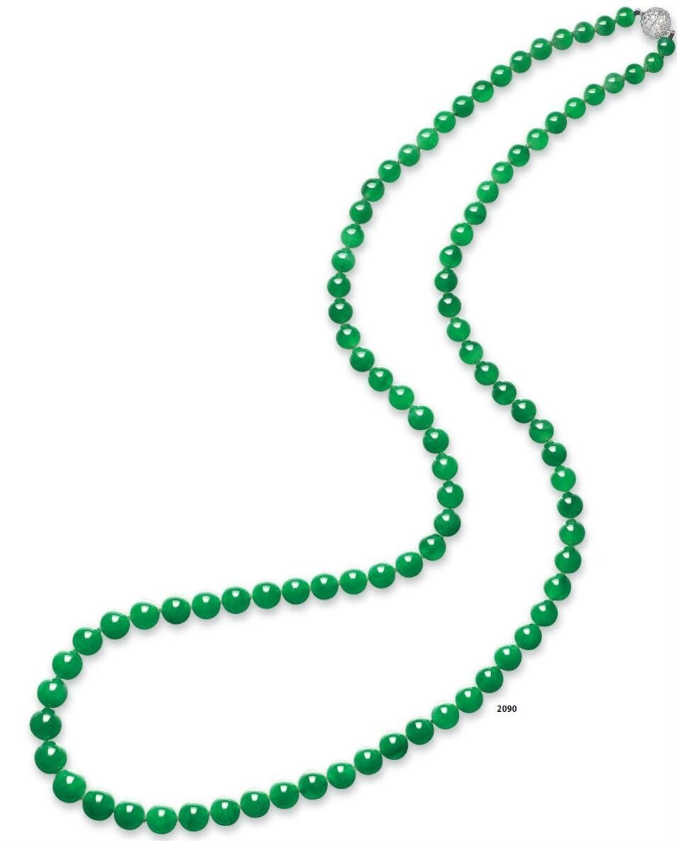 An important jadeite bead and diamond necklace