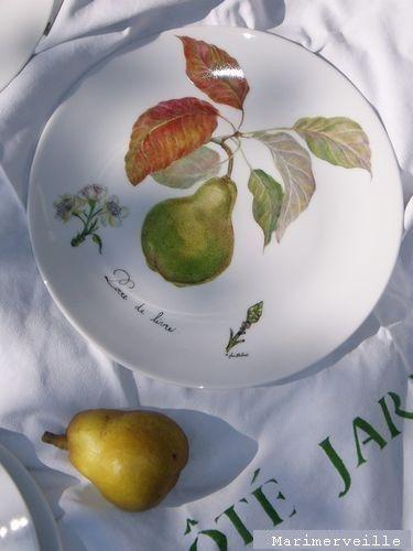 Assiette décor de poire de livre.