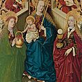The master of the pottendorf votive panel, the virgin and child enthroned with angels, with saints dorothea and barbara