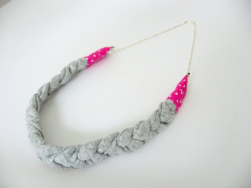 collier tressé gris rose 1