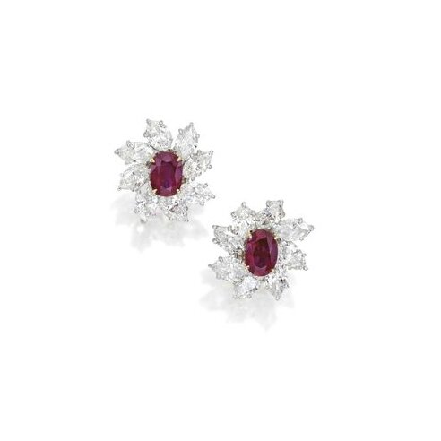 Pair of Platinum, 18 Karat Gold, Ruby and Diamond Earclips, Harry Winston