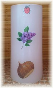 Bougie blanche coccinelle lilas chataigne Julie Beaucamp
