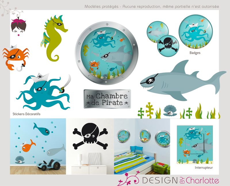 stickers th me pirate de la mer cr ation de design by charlotte graphiste ind pendante en. Black Bedroom Furniture Sets. Home Design Ideas