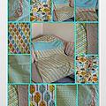 Couverture/plaid pour la naissance de clément, tissus christel g design, forest vintage
