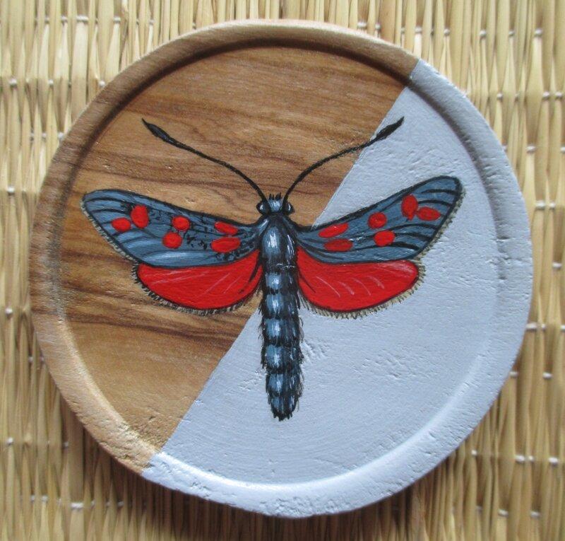 """Papillon """"zygène de la spirée"""" (sous-verre bois)"""