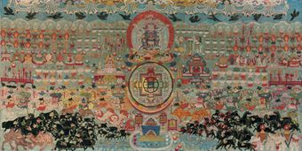 a_large_and_important_silk_applique_thangka_of_offerings_to_vajrabhair_d5347379h