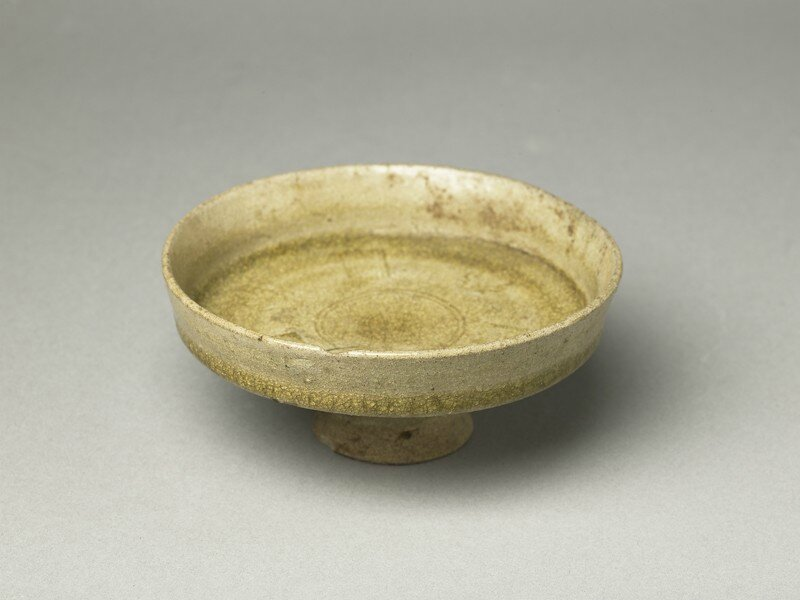 Greenware stem dish with acanthus leaf, Changsha, 5th - 6th century AD, Sui Dynasty (AD 589 - 618)