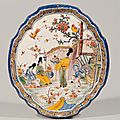 Polychrome Chinoiserie Shaped Oval. Plaque. Delft, circa 1740-60