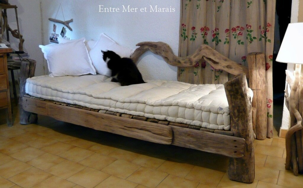 canap s en bois flott entre mer et marais cr ations en bois flott. Black Bedroom Furniture Sets. Home Design Ideas