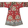 A red-ground manchu-style lady's wedding robe, late 19th century