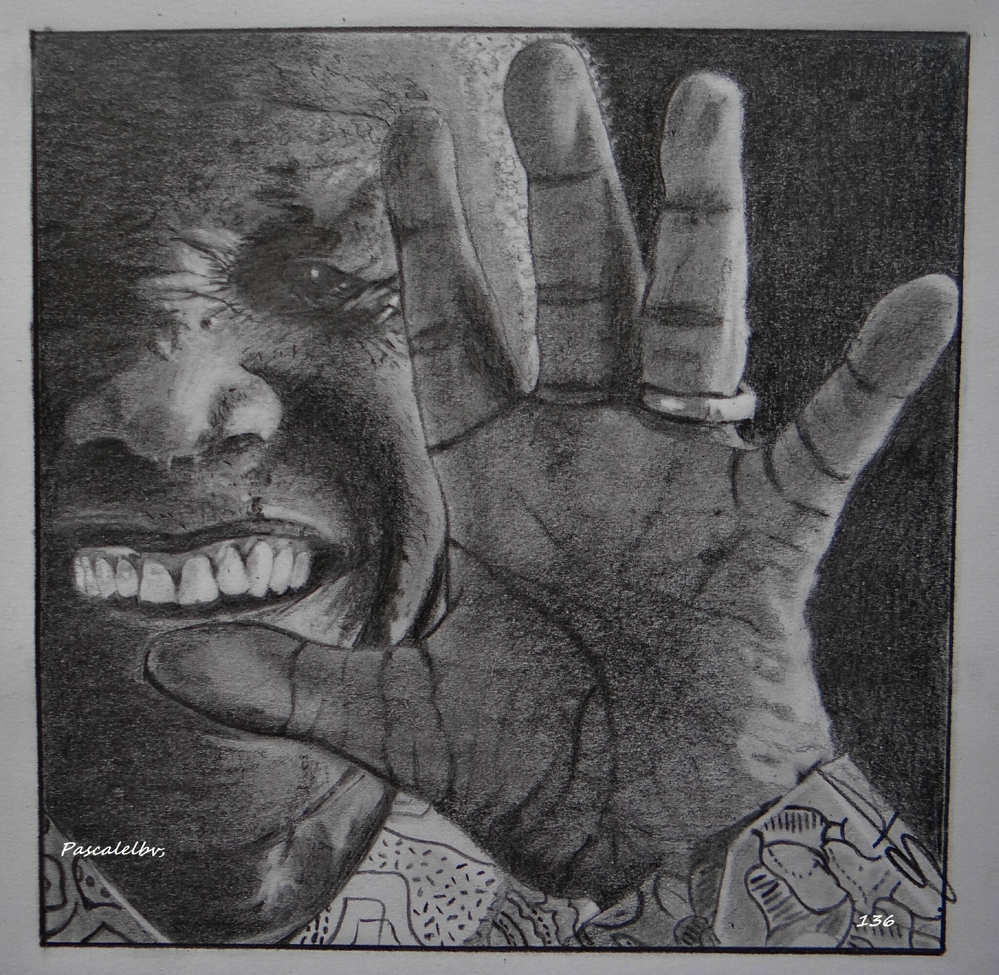 136 Good Bye Madiba encadré 36X40 - DISPONIBLE