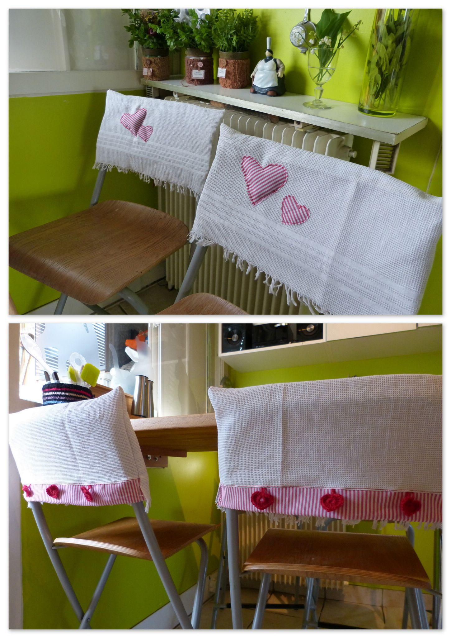 petits coeurs couvre chaise