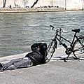 dormeur, vélo quai de seine_8885