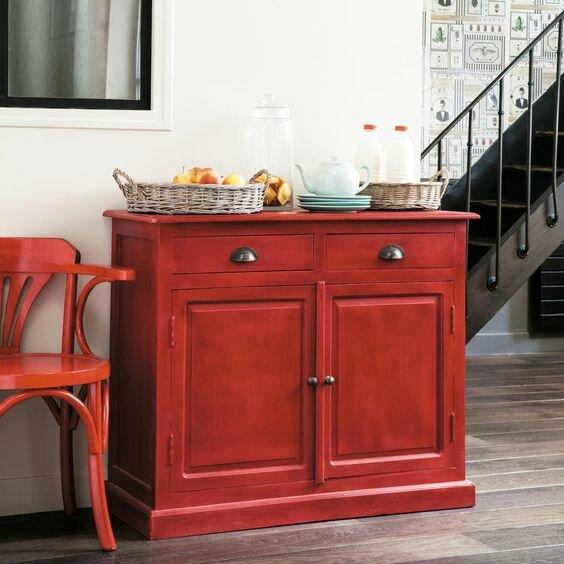 meuble patine rouge une touche de rouge d coration du bontemps