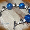 Bracelet fimo marbré bleu