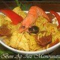 Poulet épicé au massalé, curcurma, poivrons riz et chorizo