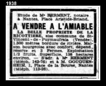 vente 1938 La Ricotière