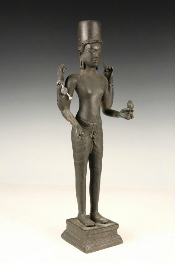 Standing Four-Armed Vishnu, 18th c, probably Vietnam, Mekong Delta region. Photo courtesy Thomaston Place Auction Galleries.