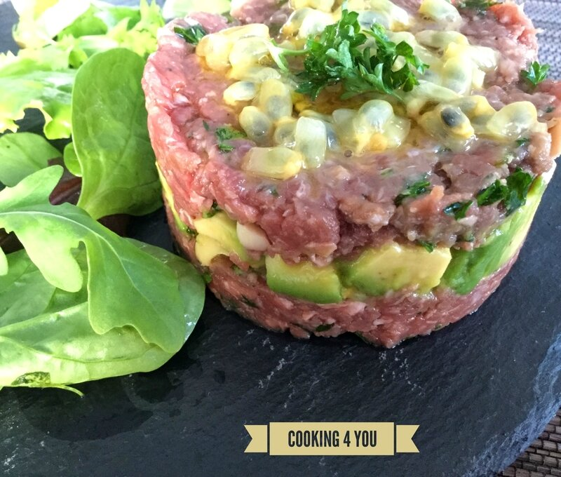 tartare de boeuf avocat fruit de la passion 044