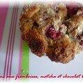 Les meilleurs muffins...version framboises matcha et chocolat blanc