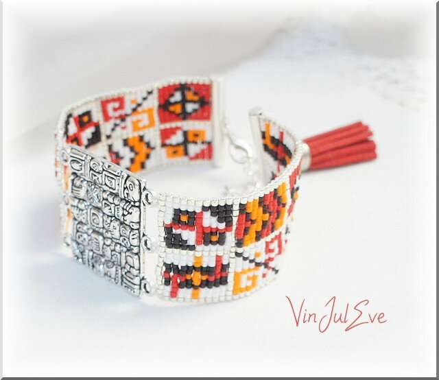 bracelet loom plaque incas rouge orange blanc noir 2