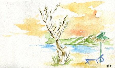 crete plage coucher de soleil