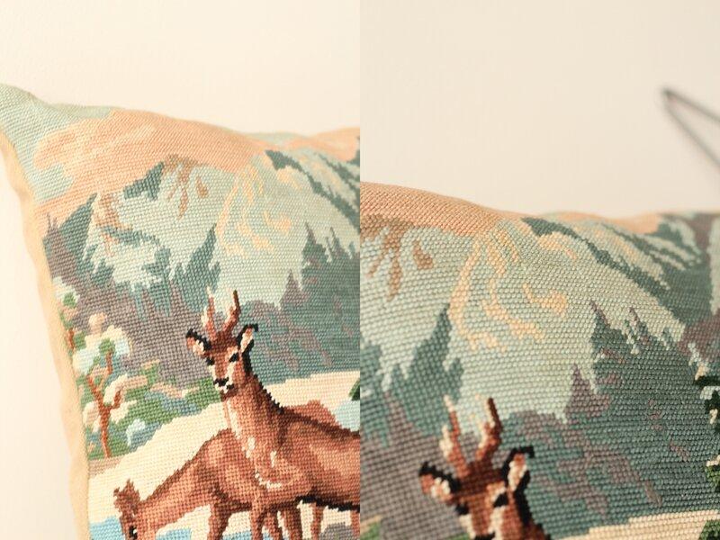 coussin tapisserie vintage paysage montagne chamois TRENDY LITTLE 4