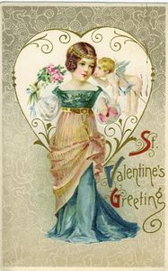 vintage_valentine_day_cards_pretty_women_in_blue_dress_heart_and_flowers
