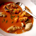 Bisque de crevettes aux moules