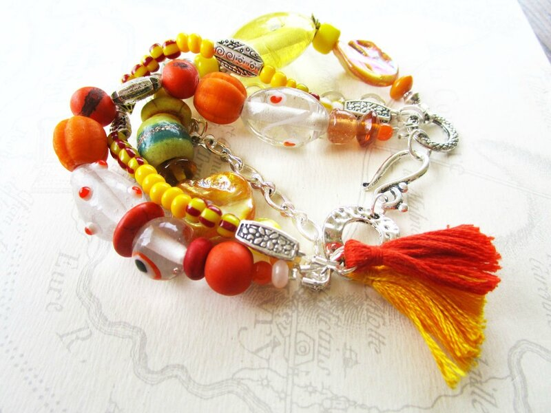 bracelet orange et jaune 001
