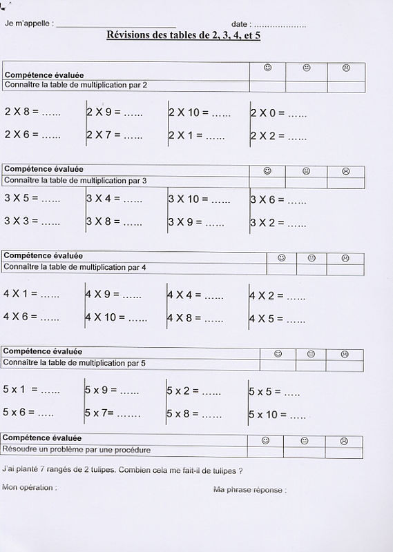 05 january 2016 page 21 for Exercice multiplication cm1
