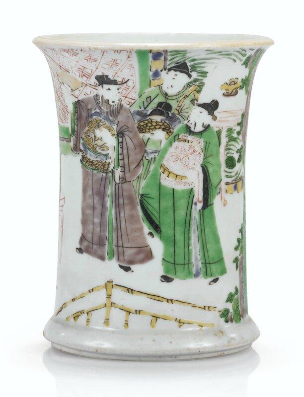 Pot à pinceaux en porcelaine de la Famille Verte Epoque, Transition, XVIIe siècle