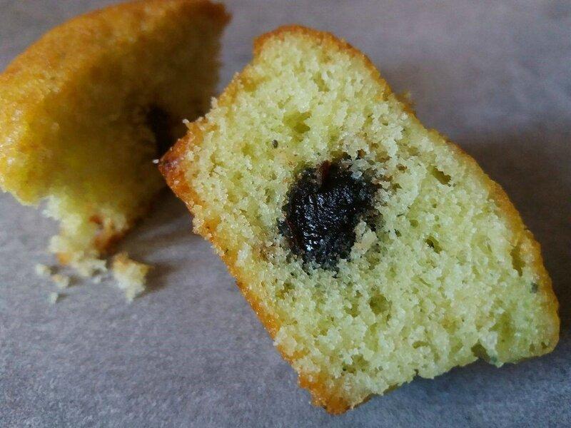 Intérieur muffin pistache griotte