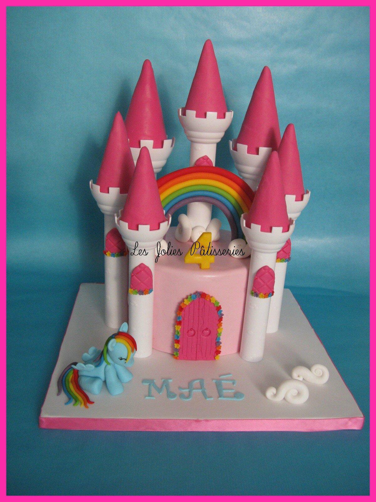 Célèbre Gâteau Château arc en ciel et petit poney Rainbow Dash ! - Les  ED52