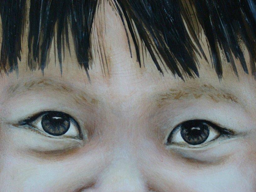 détail des yeux de Taquine