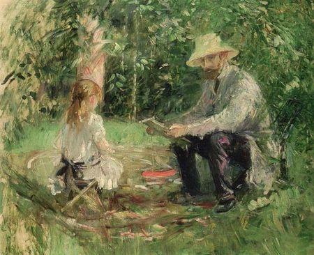 berthe-morisot-Eugene Manetet sa fille au jardin 1883
