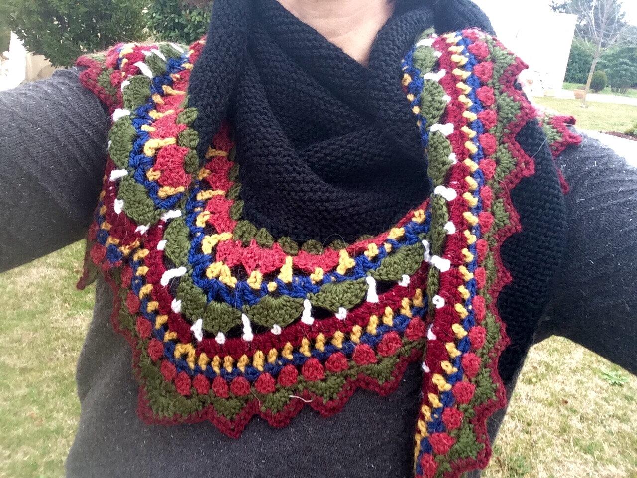 Châle folk-tricot-crochet-laine-La chouette bricole