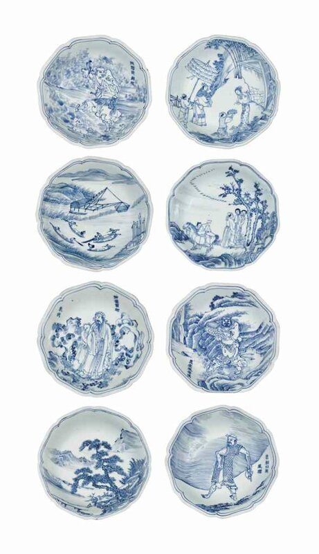Eight rare small blue and white dishes, Shunzhi period, circa 1655