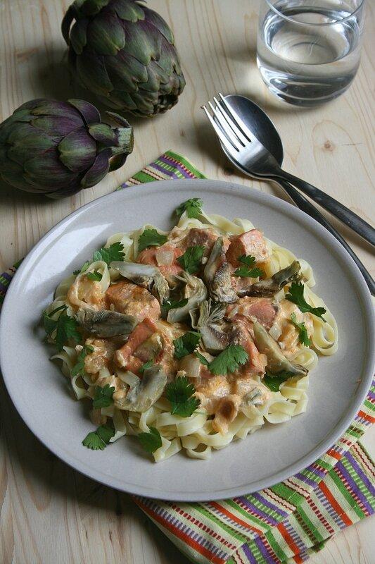 Tagliatelles au saumon et artichauts poivrade - minouchka passion culinaire 2