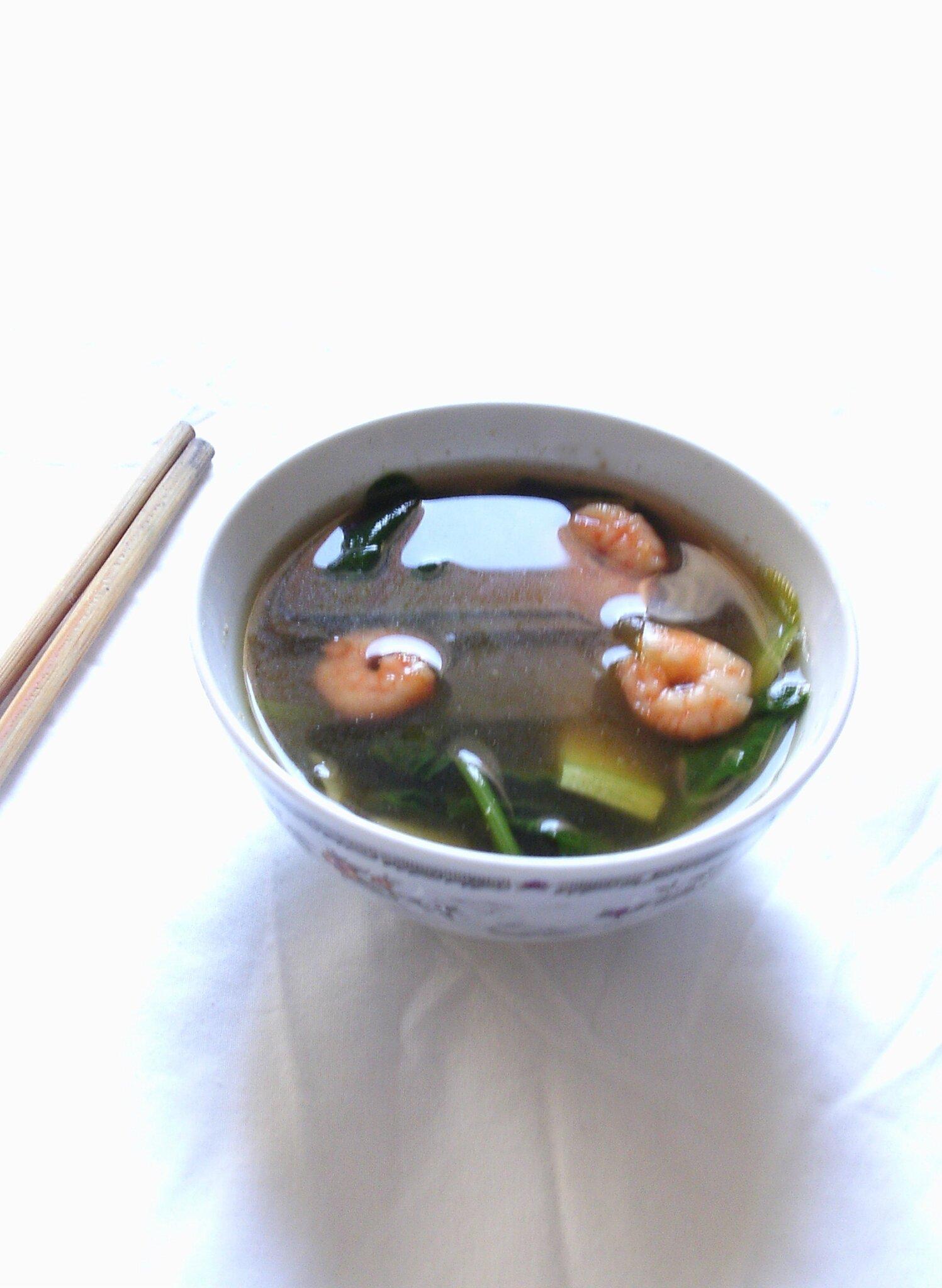 soupe de crevette aux épinards et à la courgette2