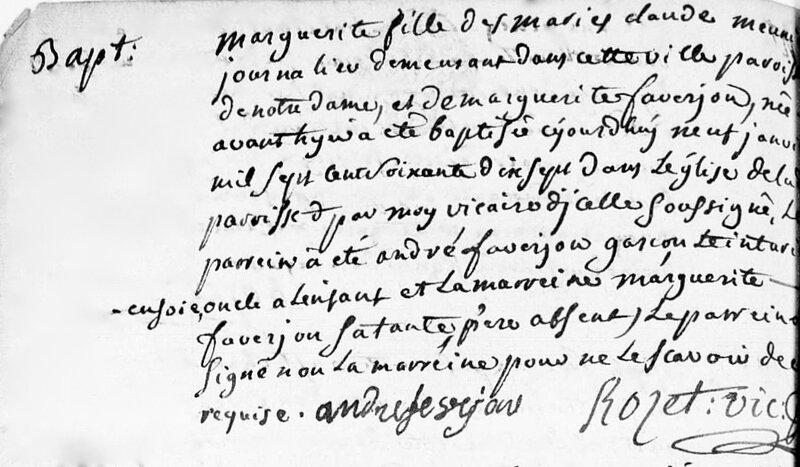 Marguerite 7 janvier 1777