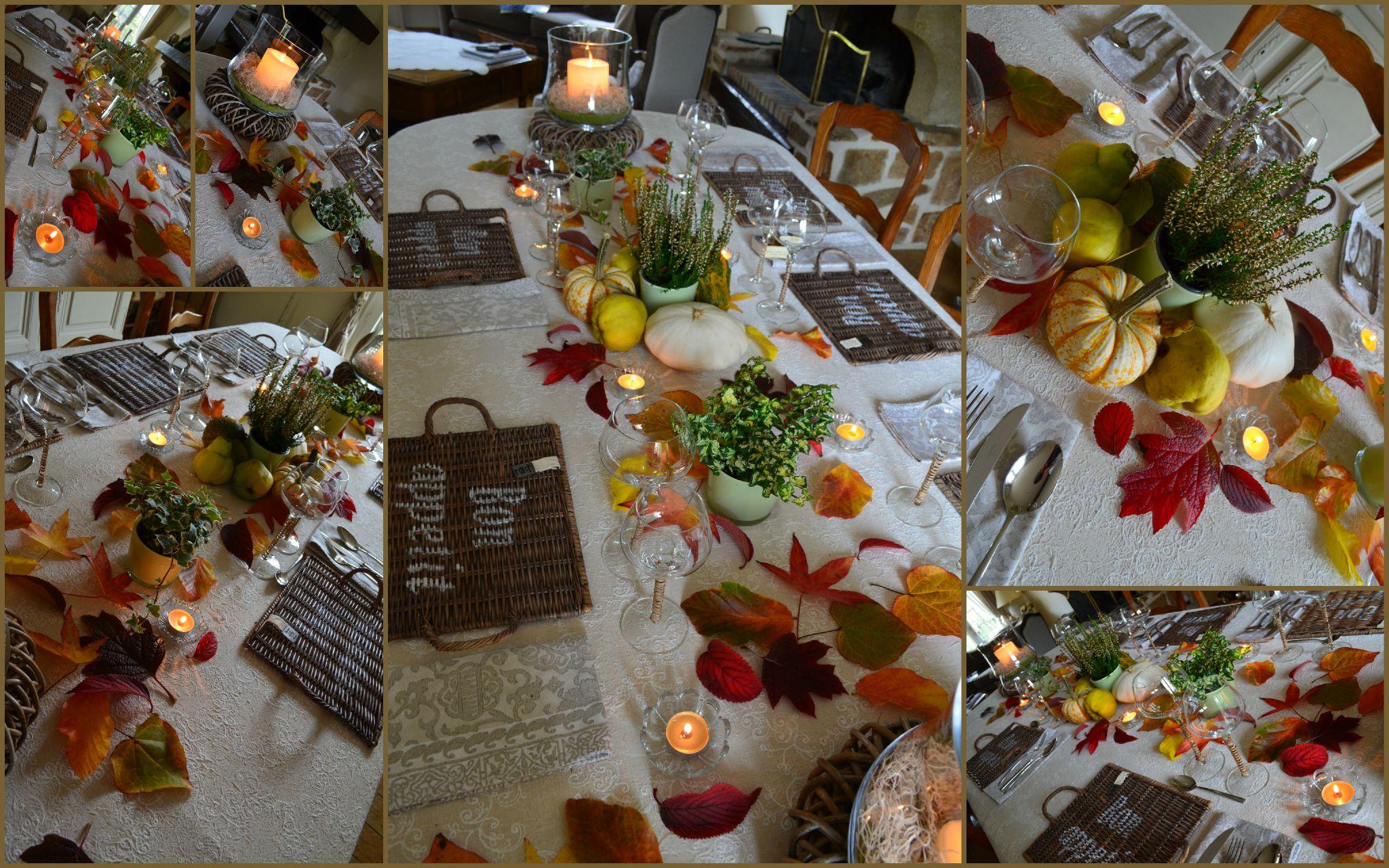 feuilles, bougies, deco de table multicolore c\u0027est de saison !