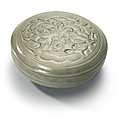 A Yue celadon moulded and carved 'Lotus' box and cover, Northern Song dynasty (960-1127)