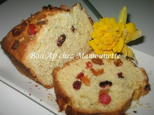 Cake aux canneberges et fruits confits 003